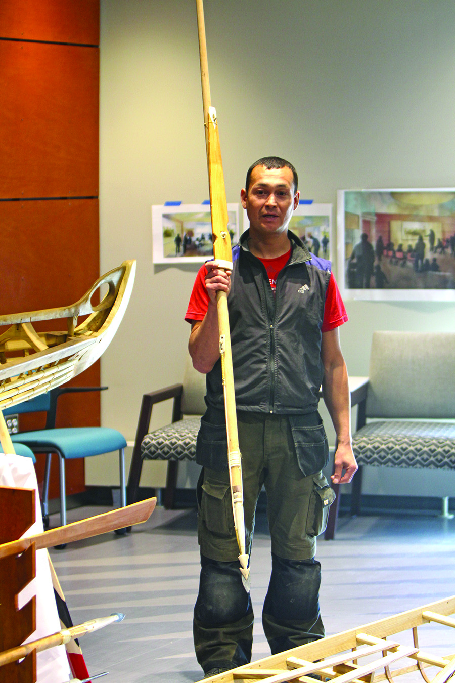 Greenlandic kayaker and master kayak builder Maligiaq Padilla talks about the different harpoons used by Inupiaq hunters.
