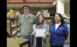 STUDENT OF THE MONTH— Eight grader Natalie Parker is Nome-Beltz Junior High's August student of the month. She is pictured here with Principal Jon Berkeley and her grandmother Martha Outwater.