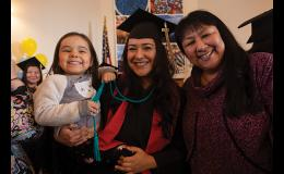 CONGRATULATIONS — Josie Styles, right, smiles for the camera along with her daughter Kallie King and granddaughter Mary Lou during the UAF Northwest Campus Commencement Ceremony held at Old St. Joe's on Thursday, May 9. Kallie King received her pre-nursing certificate.