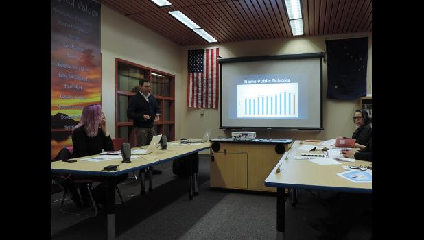 """BUDGET APPROVED— Superintendent Shawn Arnold presented a legislative breakdown to the school board on Tuesday, April 18 during a special work session. With hopes that more funding will come from the state and city so revisions can take place, the board approved the """"worst case scenario"""" budget for fiscal year 2018."""