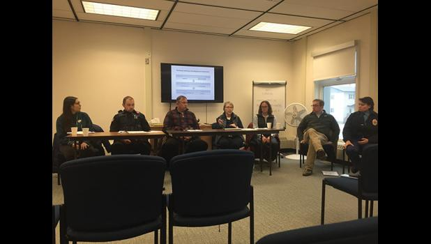 PANEL— During last week's Kawerak Regional Conference, the Sexual Assault Advocacy group hosted a panel discussion on how a sexual assault case is processed. Presenting were Thea Tucker with the Bering Sea Women's Group, NPD officer Gray Harrison, temporary NPD investigator Michael Heintzelman, Barbara Cromwell, Manager of the Norton Sound Health Corporation Forensic Nursing Department, Traci McGarry, Kawerak Child Advocacy Center Director, John Earthman, State of Alaska, 2nd Judicial District, District Att