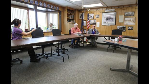 City Manager Glenn Steckman and Mayor Richard Beneville hold a press conference on Monday. KNOM's Emily Hofstaedter records.