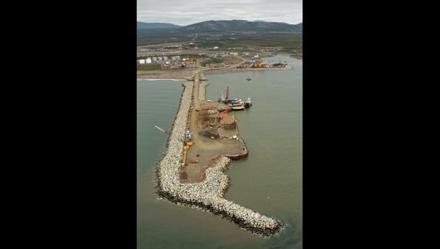 A third dock was added this summer to the Port of Nome causeway.