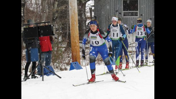 ON HER WAY— Nome Ski and Biathlon member Emelyne Hobbs heads out on the trail during the 6-kilometer sprint race at the US Team Trials in Vermont.