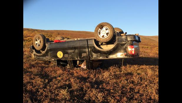 STOLEN AND CRASHED— The black city owned truck was stolen and crashed on mile 7 of the Beam Road.