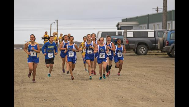 TOP FIVE— The Nanooks girls cross country running team claimed the top five spots in the high school girls division of the Nome Classic Invitational Cross Country Running Meet on Saturday. The top runner was Starr Erikson, 51. She was followed by Mary Fiskeaux, 52, Mallory Conger, 53, Ava Earthman, 54 and Daynon Medlin, 55.
