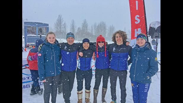 TOUR OF ANCHORAGE— Six members for the Nome Nordic ski club raced the Tour of Anchorage on Sunday, March 8. Left to right are Clara Hansen, Coach Keith Conger, Mallory Conger, Sarah Bahnke, Tobin Hobbs and Bethany Daniel.