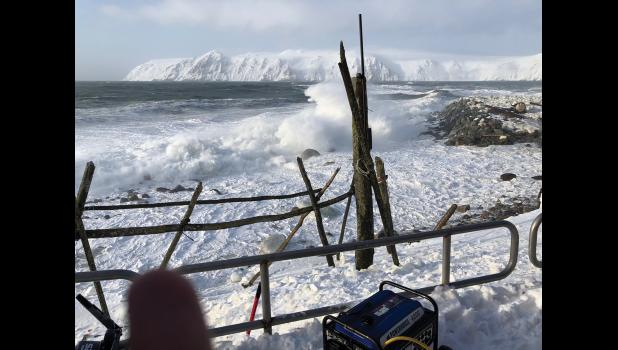 Waves crashed on the shoreline of Little Diomede last week.