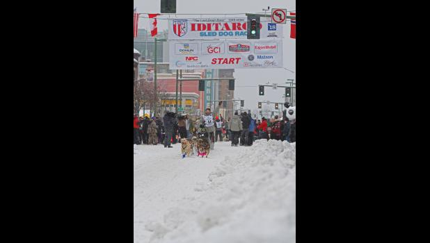 IDITAROD 2018— Aaron Burmeister leaves the ceremonial startline last Saturday in Anchorage.