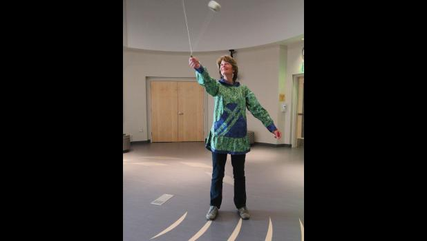 WHO KNEW?— Sen. Lisa Murkowski proved her skills playing Eskimo Yo-Yo during her Tuesday visit at the Katirvik Cultural Center.