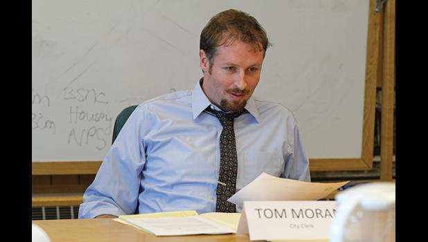 Tom Moran during the interview in front of City Council members when he was hired as city manager in August 2015.