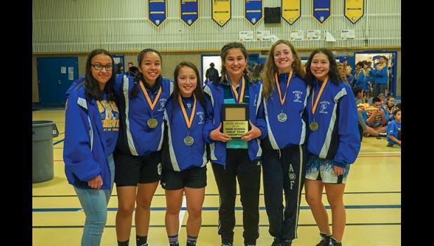 CHAMPIONS—The Nanook girl wrestlers took first place as a team. They are Kellie Miller, Della Medlin, Katie Smith, Georgia Ustaszewski,, Ava Earthman and Karis Evans.