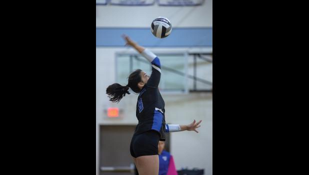 SEND IT – Lady Nanook Kastyn Lie serves one up during volleyball action in the Arctic Pinkies Tournament.