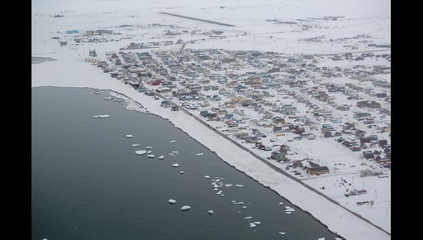 OPEN WATER— The sea ice in front of Nome abruptly broke off on March 10 and left open water behind.