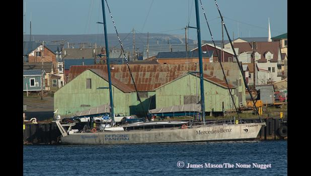 HEADED NORTH – Mike Horn and his sailboat Pangaea were in Nome preparing for a ski trek across the North Pole to Norway.